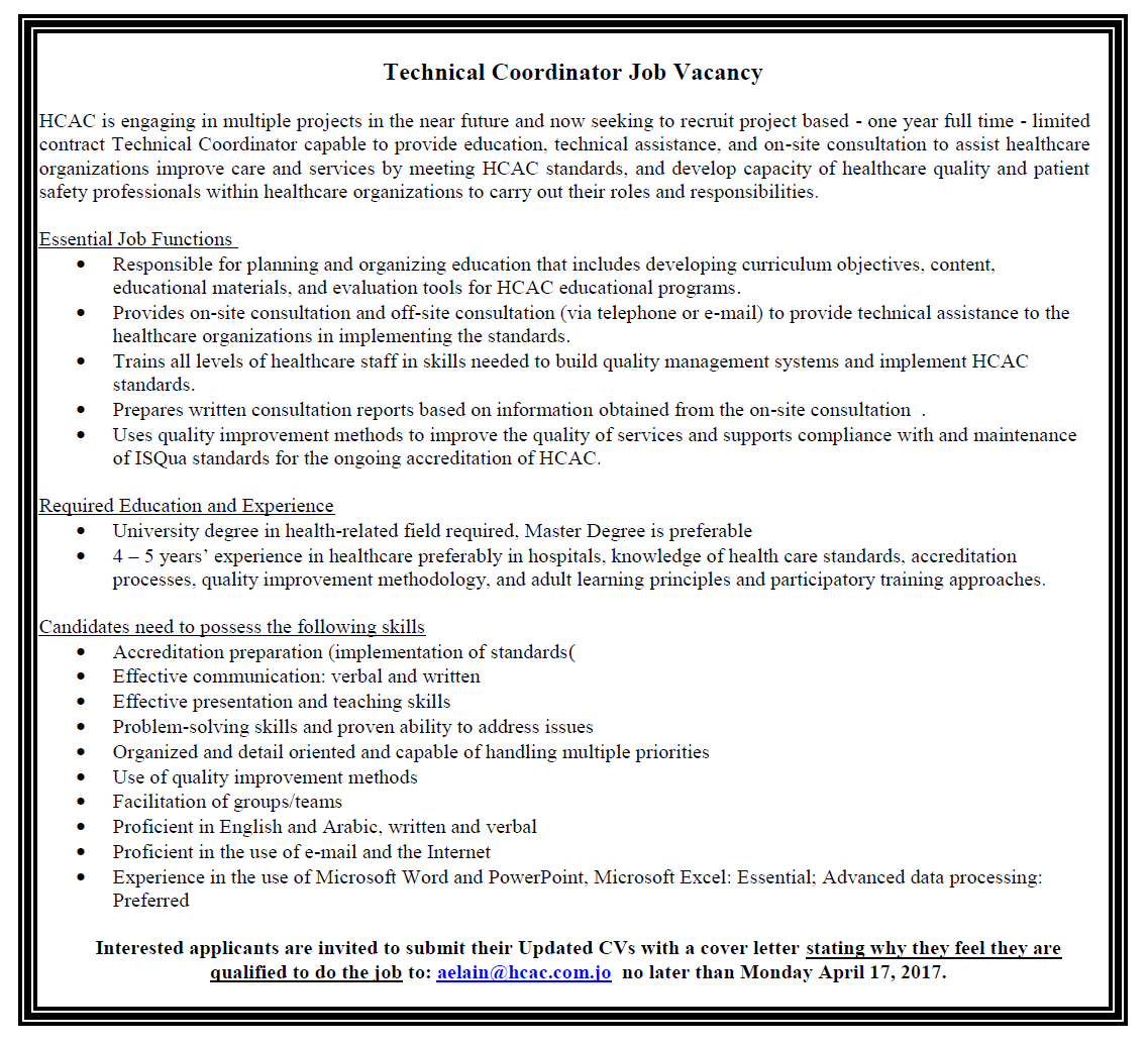 Vacancy Announcement - Technical Coordinator