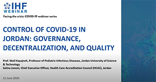 Control of COVID 19 in Jordan: Governance, Decentralization, and Quality